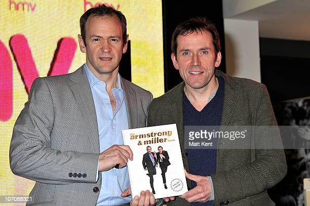 Alexander Armstrong and Ben Millerfrom aka TV comedy duo Armstrong and Miller promote their new book at HMV Oxford Street on November 23 2010 in...