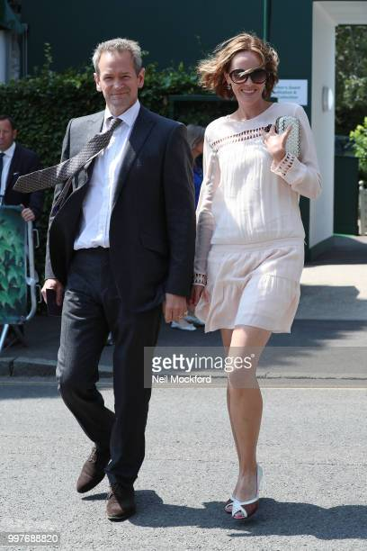 Alexander Armstrong and Hannah Bronwen Snow seen arriving at Wimbledon for Men's Semi Final Day on July 12 2018 in London England
