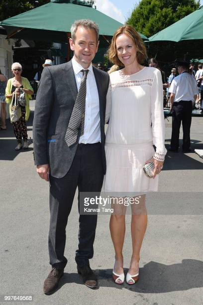 Alexander Armstrong and his wife Hannah Bronwen Snow attend day eleven of the Wimbledon Tennis Championships at the All England Lawn Tennis and...