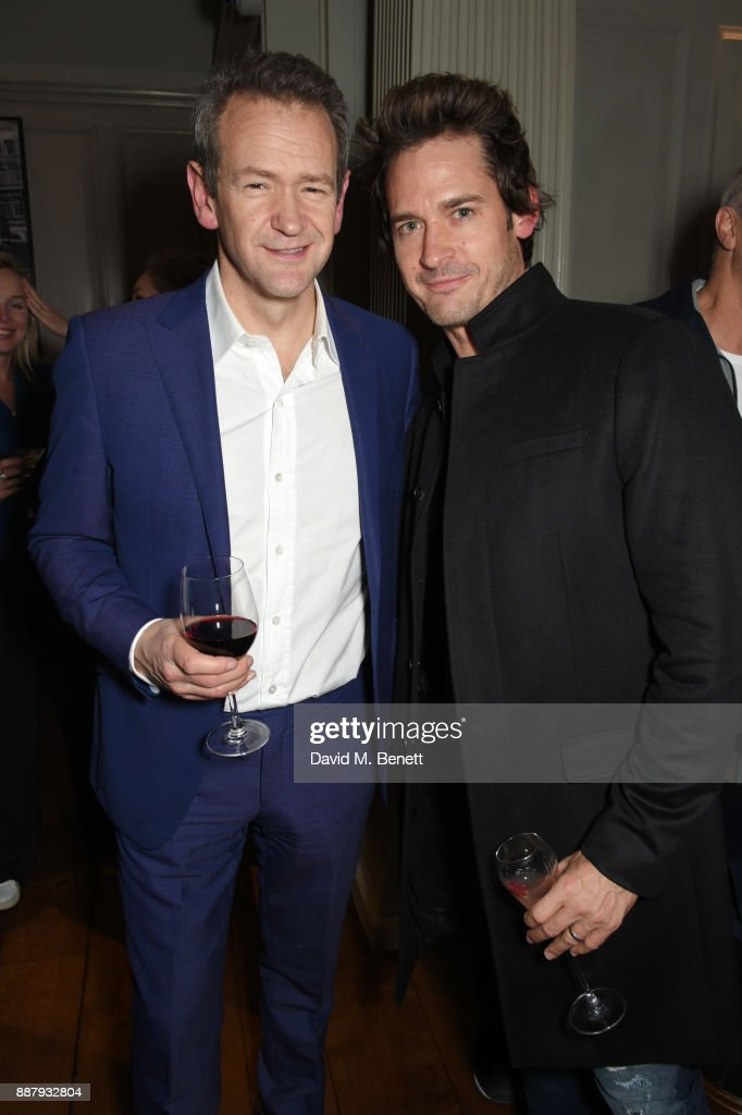 Alexander Armstrong (L) and WIll Kemp attend a private view after party for new Royal Academy Of Arts exhibition 'From Life' hosted by artist Jonathan Yeo at Brown's Hotel on December 7, 2017 in London, England.