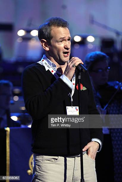 Alexander Armstrong rehearses for his performance at the Royal British Legion's Festival of Rememberance at Royal Albert Hall on November 11 2016 in...