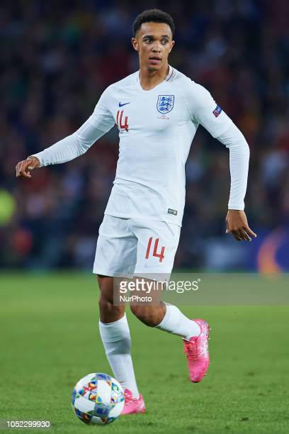 Alexander Arnold of England with the ball during the UEFA Nations League A football match between Spain and England at Benito Villamarin Stadium in...