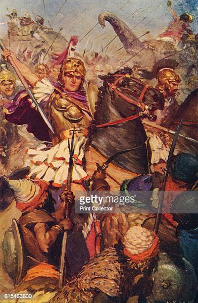 Alexander at the Battle with Porus' 326 BC The forces of Alexander the Great combat those of the Indian rajah Porus on the banks of the River...