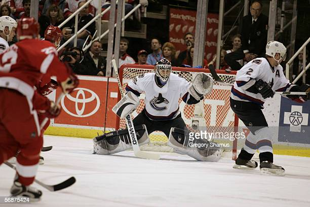 Alexander Auld of the Vancouver Canucks tends goal against the Detroit Red Wings at Joe Louis Arena on January 26 2006 in Detroit Michigan The Red...
