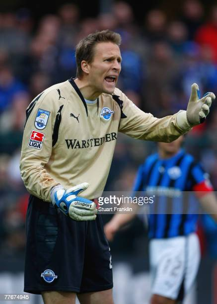 Alexander Bade of Paderborn before being shown the red card during the 2nd Bundesliga match between SC Paderborn and FSV Mainz 05 at the...