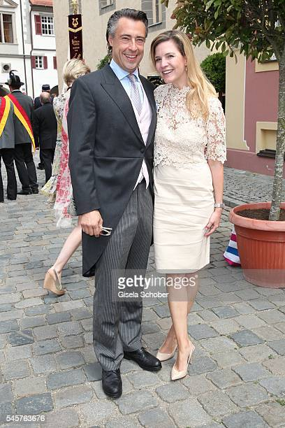 Alexander Bagusat and his wife Viola Weiss during the wedding of hereditary Prince FranzAlbrecht zu OettingenSpielberg and Cleopatra von Adelsheim in...