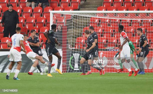 Alexander Bah of Slavia Prague scores their side's first goal during the UEFA Europa Conference League group E match between Slavia Praha and 1. FC...