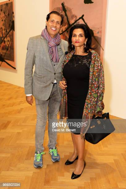 Alexander Barani and guest attend Pace Gallery Celebrates Julian Schnabel at 6 Burlington Gardens on May 16 2018 in London England