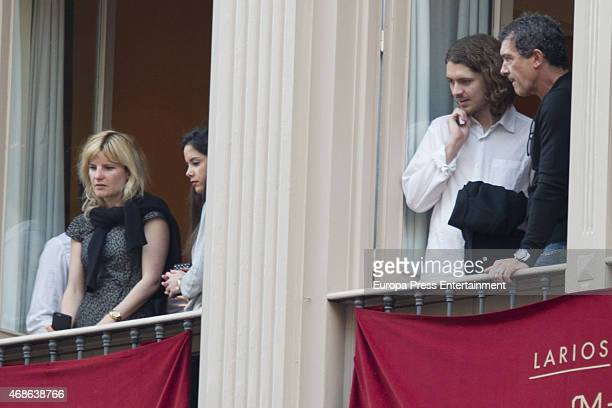 Alexander Bauer and Antonio Banderas attend Holy procession during Holy Week celebration on March 31 2015 in Malaga Spain