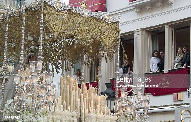 Alexander Bauer Antonio Banderas and Nicole Kimpel attend Holy procession during Holy Week celebration on March 31 2015 in Malaga Spain