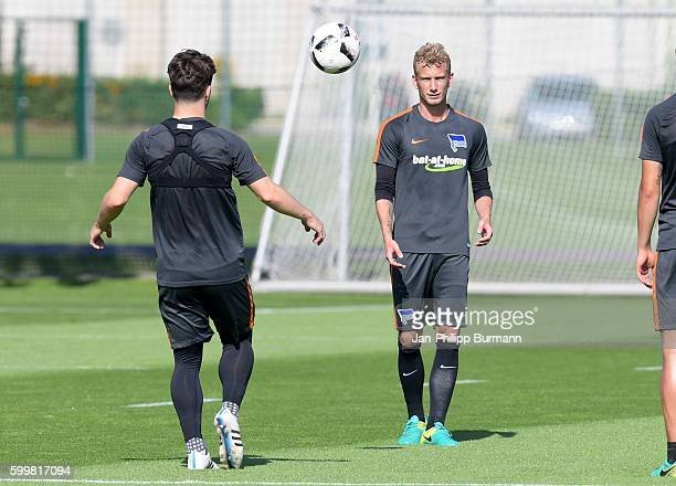 Alexander Baumjohann and Fabian Lustenberger of Hertha BSC during a training session on September 7 2016 in Berlin Germany