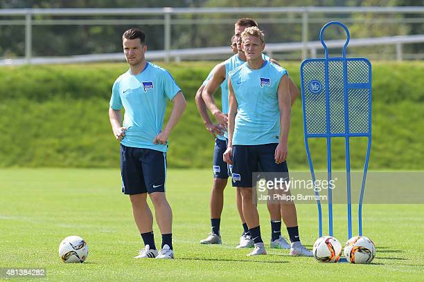 Alexander Baumjohann and Johannes van den Bergh of Hertha BSC during the training camp in Schladming on July 20 2015 in Schladming Austria