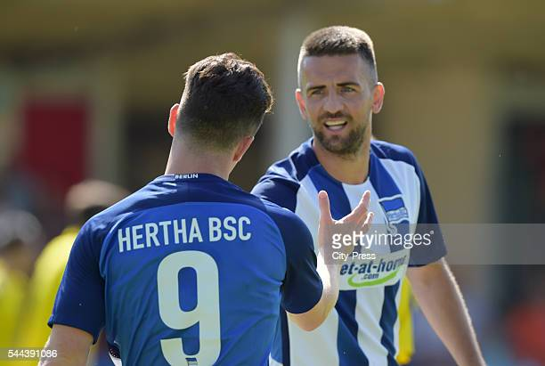 Alexander Baumjohann and Vedad Ibisevic of Hertha BSC during the training match between FC Schwedt 02 and Hertha BSC on july 3 2016 in Berlin Germany
