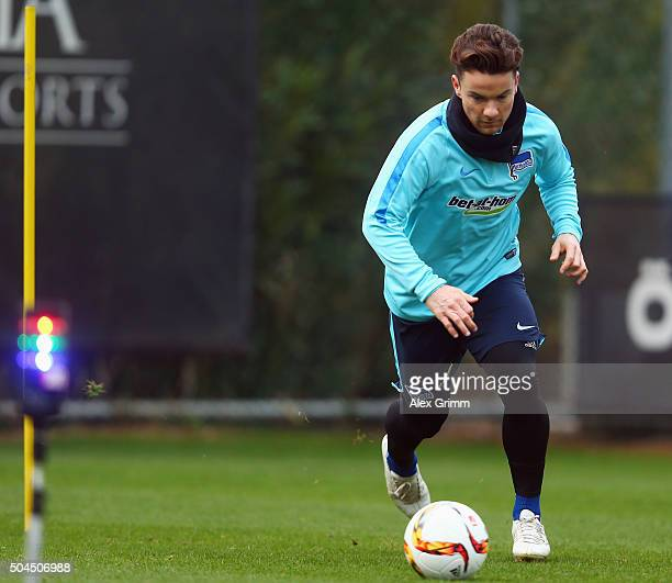 Alexander Baumjohann controles the ball during a Hertha BSC Berlin training session on day 6 of the Bundesliga Belek training camps at Gloria Sports...