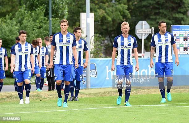 Alexander Baumjohann Niklas Stark Valentin Stocker Fabian Lustenberger and Julian Schieber of Hertha BSC during the media day of Hertha BSC on July...