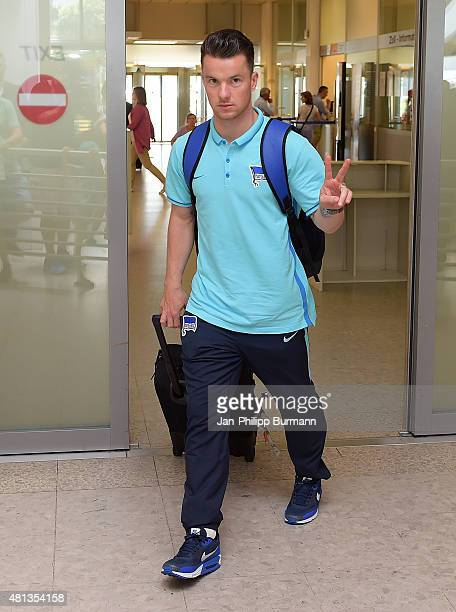 Alexander Baumjohann of Hertha BSC during their arrival at Salzburg Airport ahead of the training camp in Schladming on July 19 2015 in Salzburg...