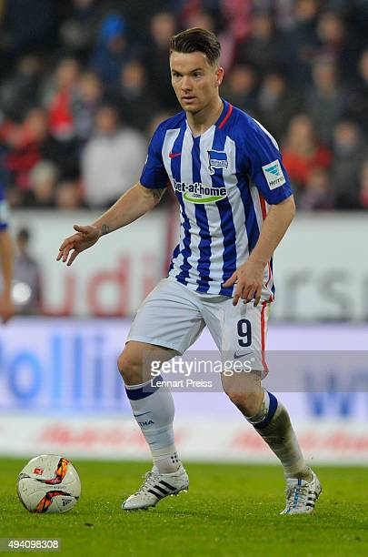 Alexander Baumjohann of Hertha BSC reacts during the Bundesliga match between FC Ingolstadt and Hertha BSC at Audi Sportpark on October 24 2015 in...
