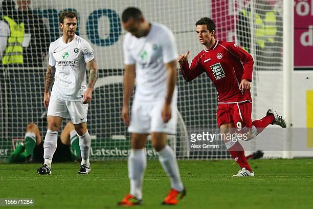 Alexander Baumjohann of Kaiserslautern celebrates his team's second goal during the Second Bundesliga match between 1 FC Kaiserslautern and...