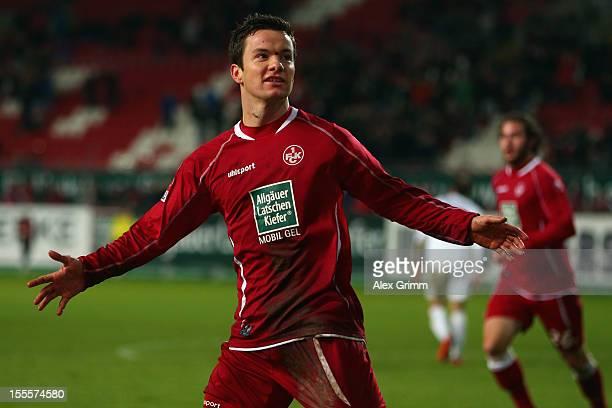 Alexander Baumjohann of Kaiserslautern celebrates his team's third goal during the Second Bundesliga match between 1 FC Kaiserslautern and Erzgebirge...