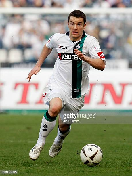 Alexander Baumjohann of Moenchengladbach in action during the Bundesliga match between Karlsruher SC and Borussia Moenchengladbach at the...