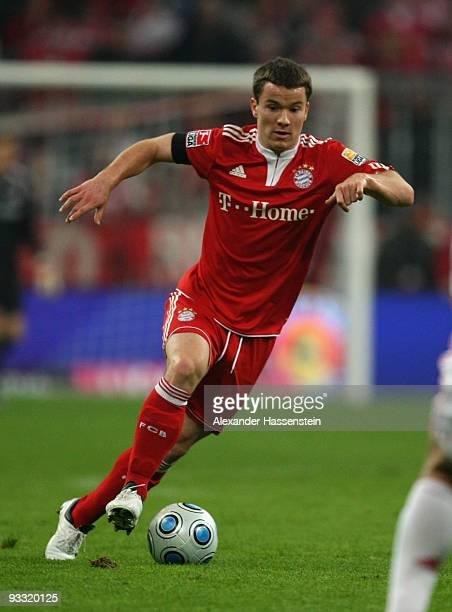 Alexander Baumjohann of Munich runs with the ball during the Bundesliga match between Bayern Muenchen and Bayer Leverkusen at the Allianz Arena on...