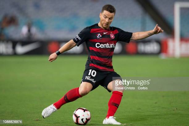 Alexander Baumjohann of the Wanderers shoots at goal during the round 10 ALeague match between the Western Sydney Wanderers and Melbourne City at ANZ...