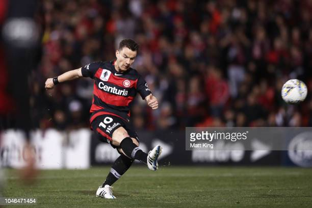 Alexander Baumjohann of the Wanderers takes a shot on goal during the FFA Cup Semi Final match between the Western Sydney Wanderers and Sydney FC at...