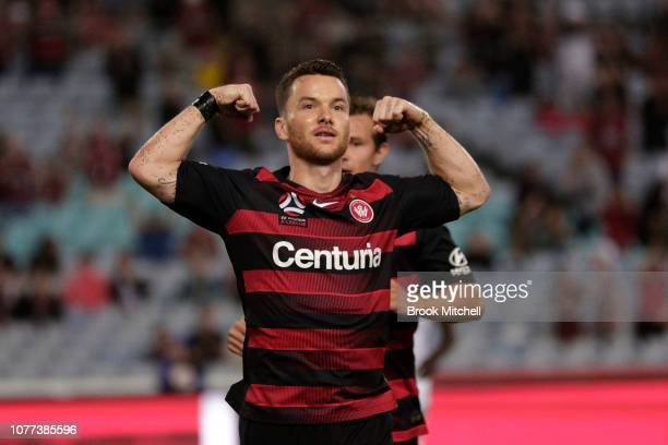 Alexander Baumjohann of the Western Sydney Wanderers celebrates his penalty goal during the round 11 ALeague match between the Western Sydney...