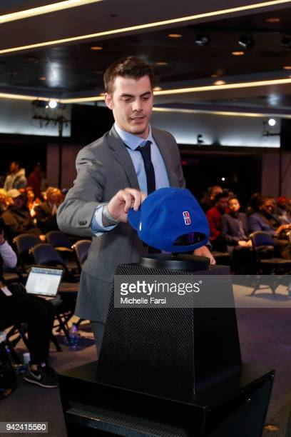 Alexander Bernstein grabs his hat after being selected by 76ers Gaming Club during the NBA2K Draft on April 4 2018 in New York New York at the Hulu...
