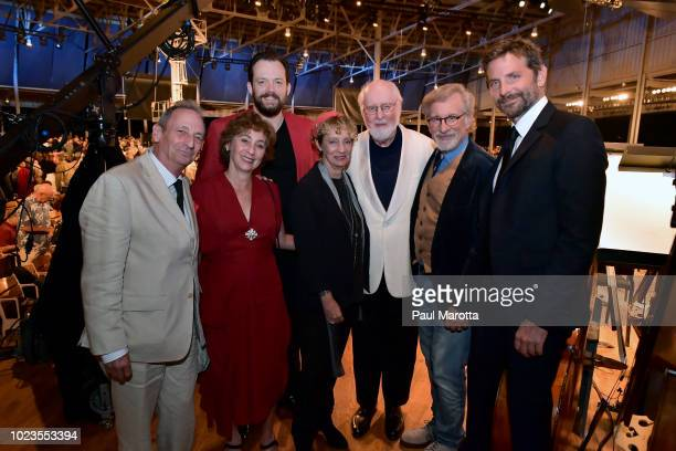 Alexander Bernstein Jamie Bernstein Nina Bernstein Andris Nelsons John Williams Stephen Spielberg and Bradley Cooper on stage at 'The Leonard...