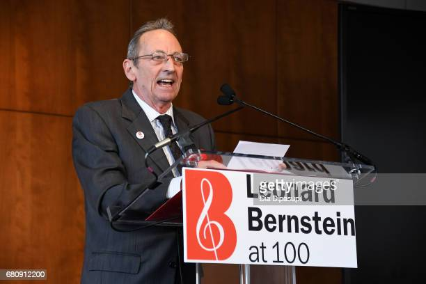 Alexander Bernstein speaks onstage during the Leonard Bernstein at 100 press event at the Stanley H Kaplan Penthouse at Lincoln Center on May 9 2017...