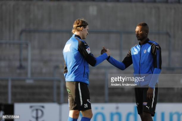 Alexander Berntsson Aboubakar Keita of Halmstad BK greets each other before the Allsvenskan match between Halmstad BK and Athletic FC Eskilstuna at...