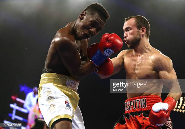 Alexander Besputin punches Juan Carlos Abreu during their welterweight fight at The Hulu Theater at Madison Square Garden on December 08 2018 in New...