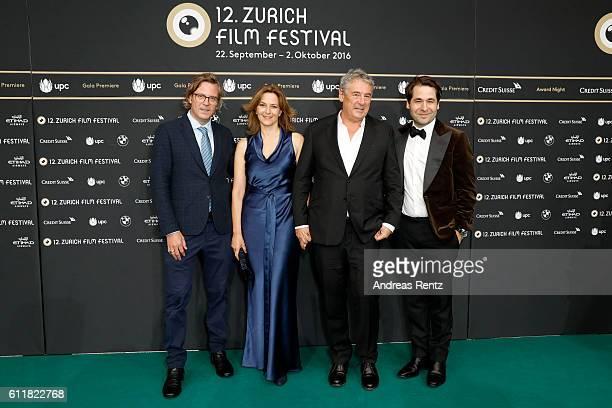 Alexander Bickenbach Martina Gedeck her partner Markus Imboden and Festival director Karl Spoerri attend the 'Gleissendes Glueck' premiere during the...