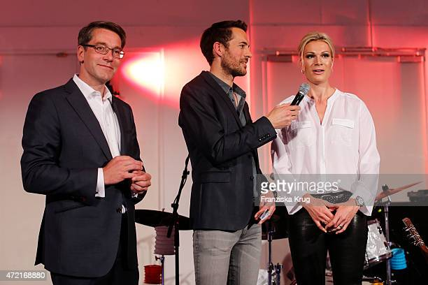 Alexander Birken Alexander Mazza and Maria HoeflRiesch attend the OTTO Exclusive Sport Cooperation celebrations on May 04 2015 in Munich Germany