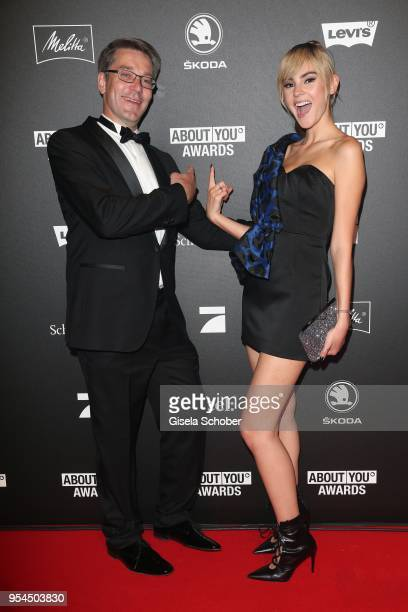 Alexander Birken CEO Otto Group and Stefanie Giesinger during the 2nd ABOUT YOU Awards 2018 at Bavaria Studios on May 3 2018 in Munich Germany