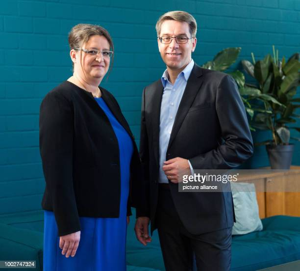 Alexander Birken the CEO of the Otto Group and CFO Petra ScharnerWolff at a press conference at which the company released its annual financial...