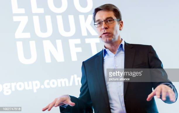 Alexander Birken the CEO of the Otto Group talks at a press conference at which the company released its annual financial report in Hamburg Germany...