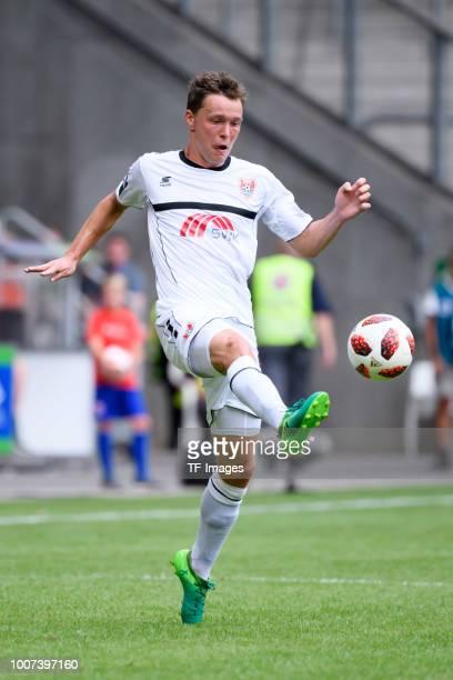 Alexander Bittroff of KFC Uerdingen controls the ball during the 3 Liga match between KFC Uerdingen 05 and SpVgg Unterhaching at GrotenburgStadion on...