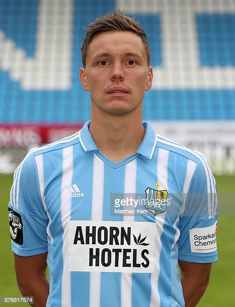 Alexander Bittroff poses during the Chemnitzer FC team presentation on July 15 2016 in Chemnitz Germany