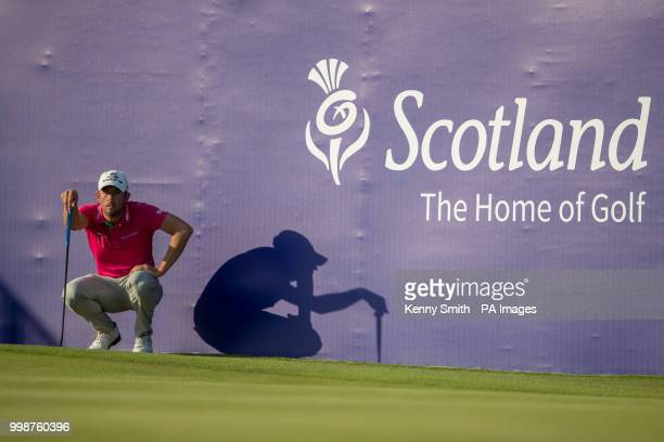 Alexander Bjork lines up his par putt on the 18th during day three of the Aberdeen Standard Investment Scottish Open at Gullane Golf Club East Lothian