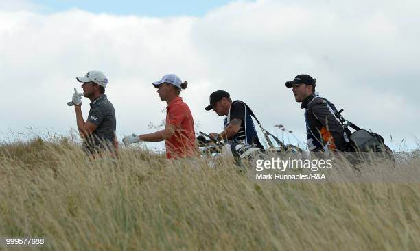 Alexander Bjork of Sweden and Marcel Siem of Germany putting walk from the 5th tee during the Open Qualifying Series as part of the Aberdeen Standard...