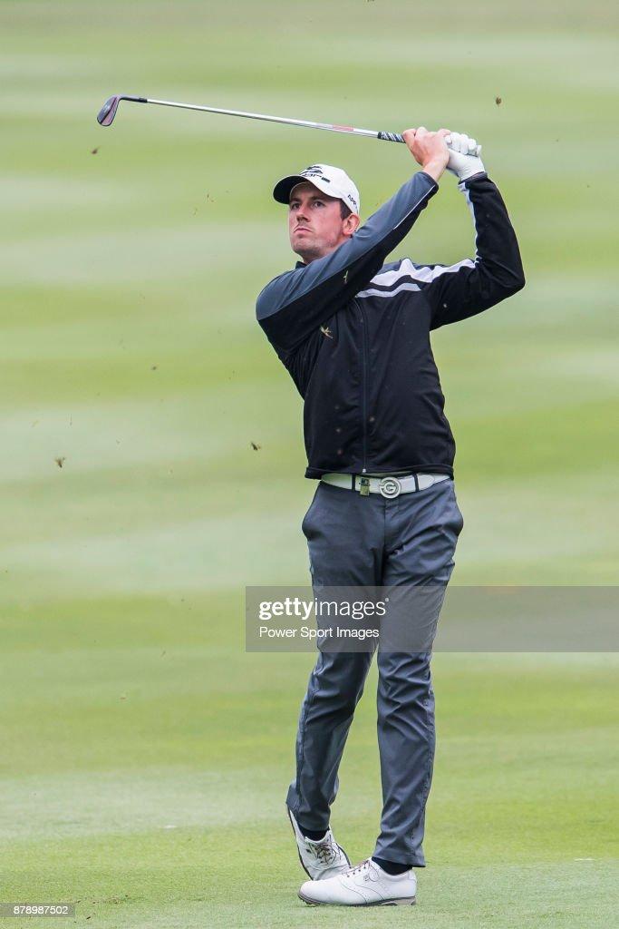 Alexander Bjork of Sweden hits a shot during round three of the UBS Hong Kong Open at The Hong Kong Golf Club on November 25, 2017 in Hong Kong, Hong Kong.