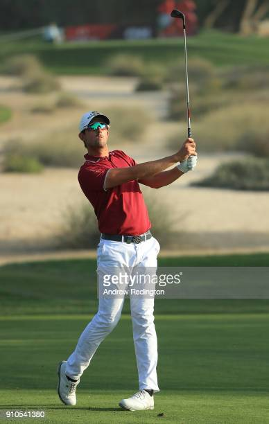 Alexander Bjork of Sweden hits his second shot on the 15th hole during round two of the Omega Dubai Desert Classic at Emirates Golf Club on January...