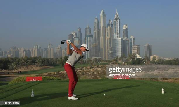 Alexander Bjork of Sweden hits his teeshot on the eighth hole during the completion of the second round of the Omega Dubai Desert Classic at Emirates...
