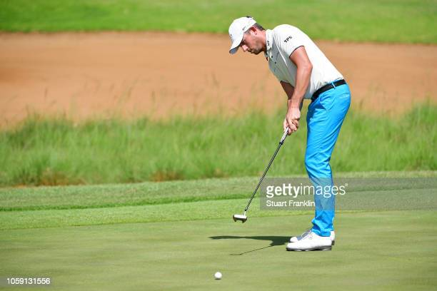 Alexander Bjork of Sweden in action during day one of the Nedbank Golf Challenge at Gary Player Golf Course on November 8 2018 in Sun City South...