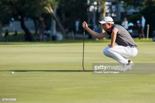 Alexander Bjork of Sweden lines up a putt during round four of the UBS Hong Kong Open at The Hong Kong Golf Club on November 26 2017 in Hong Kong...