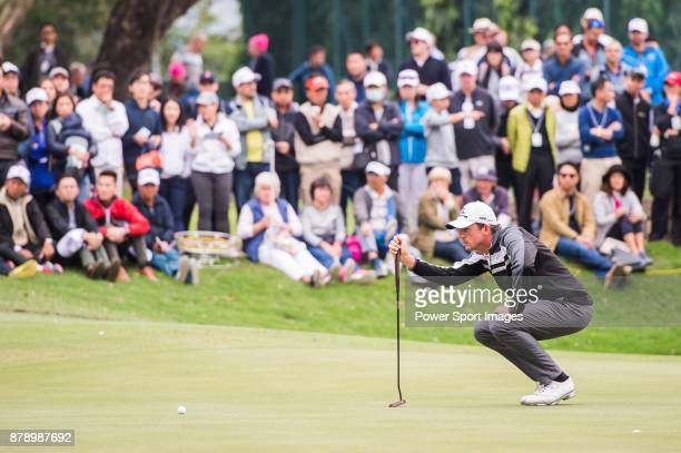 Alexander Bjork of Sweden lines up a putt during round three of the UBS Hong Kong Open at The Hong Kong Golf Club on November 25 2017 in Hong Kong...