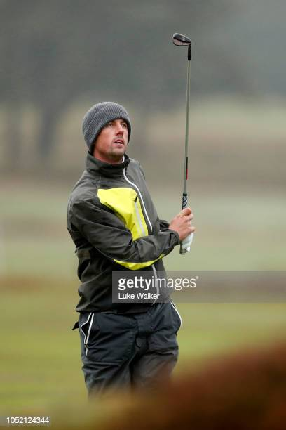 Alexander Bjork of Sweden looks on after a shot from the 15th fairway during day four of Sky Sports British Masters at Walton Heath Golf Club on...