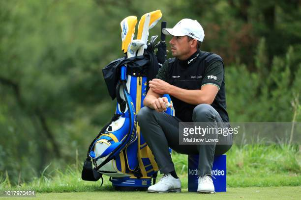 Alexander Bjork of Sweden looks on at the 8th tee during day two of the Nordea Masters at Hills Golf Club on August 17 2018 in Gothenburg Sweden
